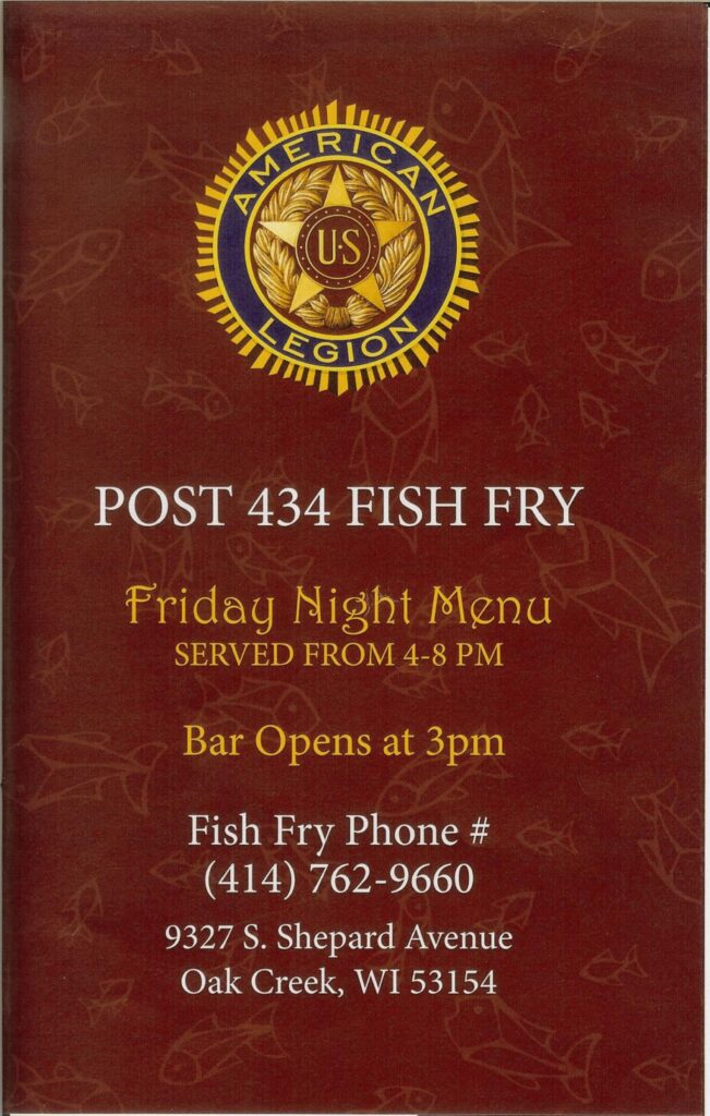 2020 Fish Fry Menu Front Cover