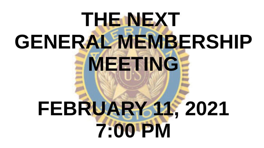 February 2021 General Membership Meeting