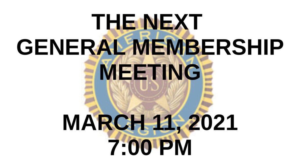 March 2021 General Membership Meeting