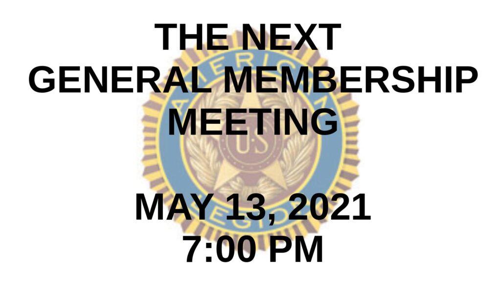 May 2021 General Membership Meeting