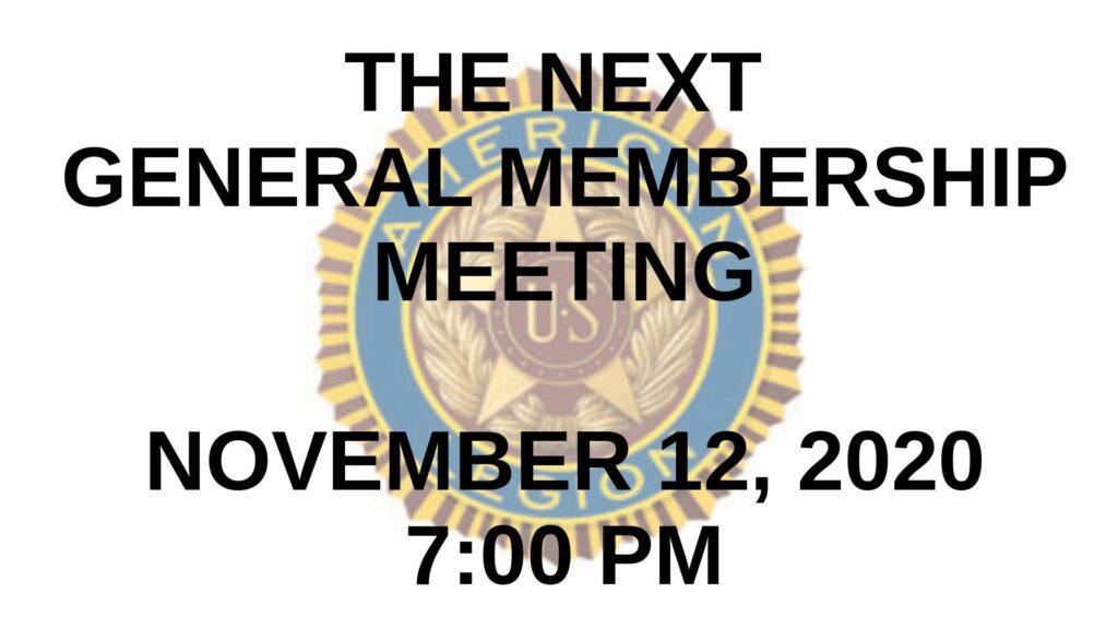 November 2020 General Membership Meeting