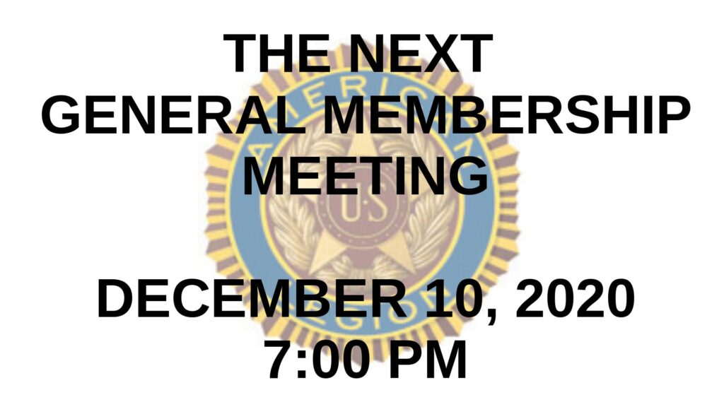 December 2020 General Membership Meeting